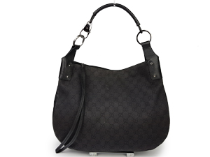 Gucci GG Black Canvas Hobo Bag