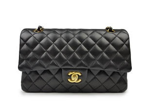 SOLD OUT Chanel Black Lambskin Medium Double Flap