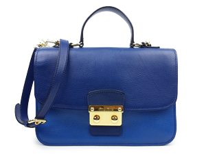 Miu Miu Blue Leather Push Lock Lady Tote