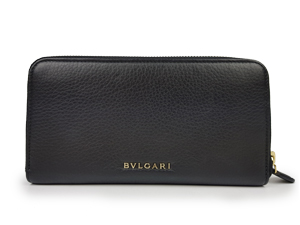Bvlgari Black Leather Zippy Wallet