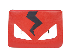 SOLD OUT BRAND NEW Fendi Red Zip Zag Monster Eyes Pouch