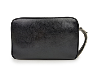 Salvatore Ferragamo Black Leather Zip Clutch
