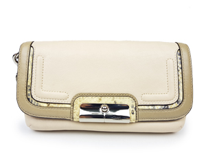 Coach Pearl White Leather Large Wristlet