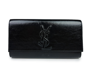 SOLD OUT YSL Yves Saint Laurent Black Crackled Leather Belle De Jour Clutch