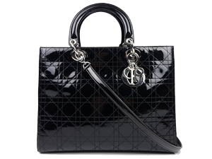 Christian Dior Black Pattern Leather Lady Dior Two Way