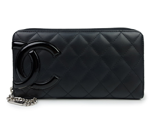 SOLD OUT Chanel Black Calfskin Cambon Zip Wallet