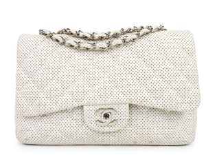 Chanel White Lambskin Perforated Jumbo Flap WSH