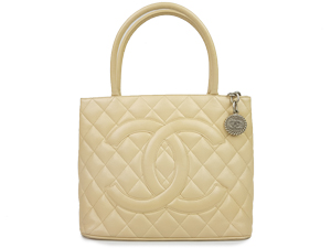 Chanel Beige Caviar Medallion Tote With Silver Hardware