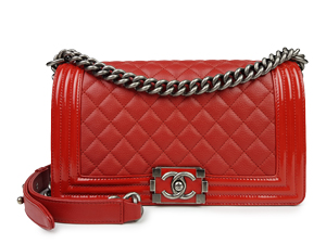 Chanel Red Calfskin Medium Boy Flap WPH