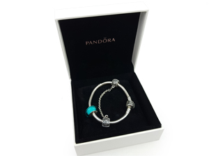 Pandora Silver Charm Bracelet With Blue Crystal Charm And Safety Chain