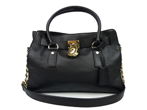 Michael Kors Black Hamilton Leather Satchel Bag