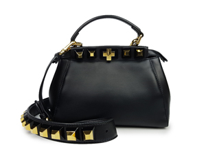 Fendi Peekaboo Mini Studded Leather Satchel Bag