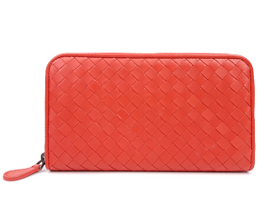 Bottega Veneta Red Intrecciato Zip Around Wallet