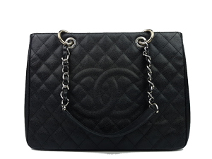 Chanel Black Caviar Grand Shopper Tote (GST) Silver Hardware