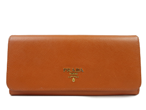 Prada Papaya Saffiano Leather Wallet