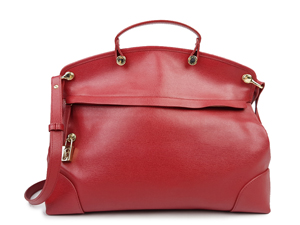 Furla Red Leather Piper Tote Bag