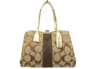 Coach Signature Stripe Framed Carryall Tote Bag F13533