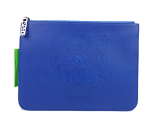 Kenzo Blue Leather Tiger Clutch