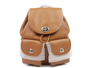 BRAND NEW Coach Turnlock Pebble Leather Rusksack Backpack 37582