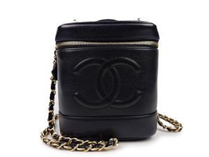 SOLD OUT Chanel Black Caviar Vanity Case Add On Designer Strap