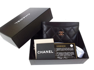 Sold Out BRAND NEW Chanel Black Lambskin Card Holder