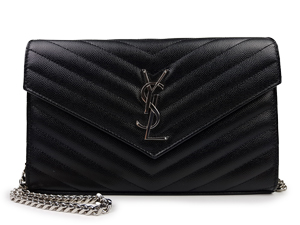 YSL Yves Saint Laurent Monogram Chain Wallet Silver