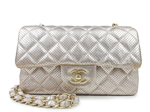 Chanel Gold Lambskin Perforated Mini Flap