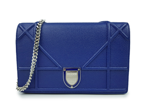 "Christian Dior Blue Grained Calfskin Diorama Large ""Cannage"" WOC"