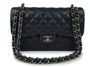 Chanel Black Caviar Jumbo Double Flap WSH