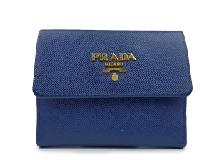Prada Blue Saffiano Leather Card Coin Pouch