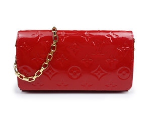 BRAND NEW Louis Vuitton Red Vernis Sarah Chain Wallet