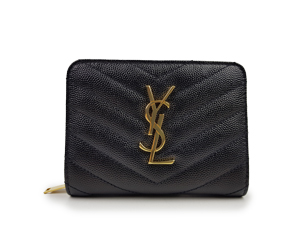 SOLD OUT BRAND NEW YSL Yves Saint Laurent Black Matelasse Compact Zip Around Wallet