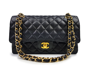 SOLD OUT Chanel Black Caviar Medium Double Flap WGH