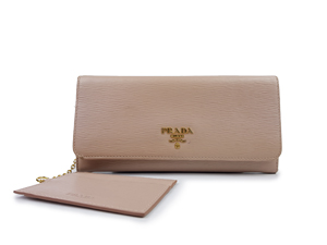 Prada Saffiano Leather Button wallet w/ Removable ID / Card Holder