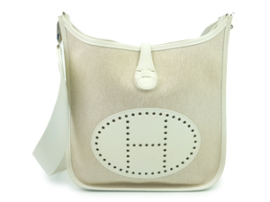 Hermes White Canvas Evelyn PM