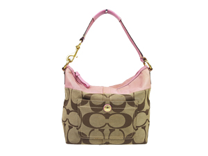Coach Hampton Pink Signature Stripe Tote 11957