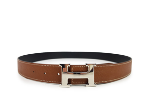 Hermes Brown Black Reversible Belt Kit W/ Silver Buckle