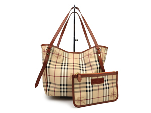 Burberry Haymarket Check Brown Leather Trim Tote Bag