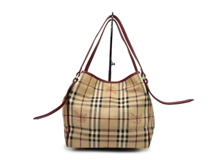 Burberry Haymarket Check Red Leather Trim Tote Bag