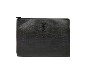 SOLD OUT YSL Yves Saint Laurent Monogram Tablet Holder In Stamped Crocodile Leather Clutch
