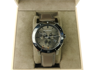 Burberry Chronograph Grey Dial Leather Men's Watch BU9384