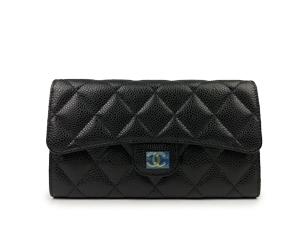 BRAND NEW Chanel Black Caviar Trifold Long Wallet