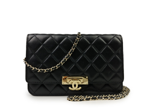 Chanel Lambskin Wallet On Chain Woc With Gold Hardware