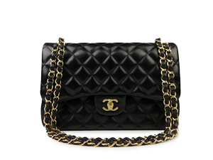 Chanel Black Lambskin Jumbo Double Flap WGH