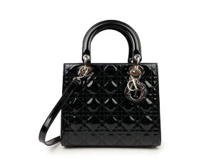 Christian Dior Black Pattern Leather Lady Dior