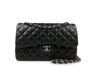 Chanel Black Lambskin Jumbo Double Flap WSH
