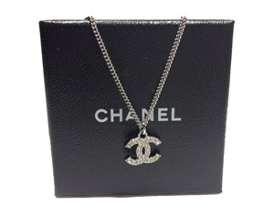 Sold Out BRAND NEW Chanel Silver Crystals CC Necklace N01