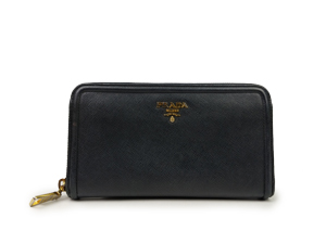 Prada Black Saffiano Zip Around Long Wallet