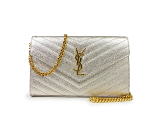 SOLD OUT YSL Yves Saint Laurent Monogram Metallic Chain Wallet Gold