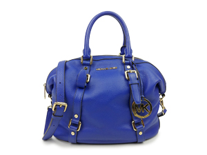 Michael Kors Blue Bedford Belted Satchel Textured Leather Bag